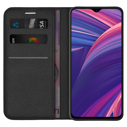 Leather Wallet Case & Card Holder Pouch for Oppo R17 Pro - Black